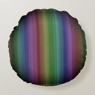 Grunge Rainbow Rock Stripe Line Pattern Round Pillow