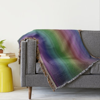 Grunge Rainbow Rock Stripe Line Pattern Throw Blanket