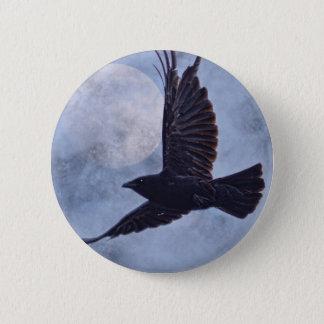 Grunge Raven & Moon Lt Blue Art Design 2 Inch Round Button