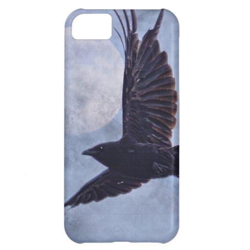 Grunge Raven & Moon Lt Blue Art Design Case For iPhone 5C