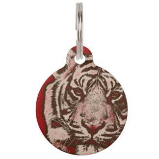 Grunge Red Abstract Tiger Pet Nametag
