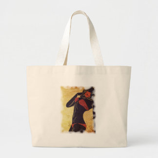 Grunge red bikini detailed silhouette2 large tote bag