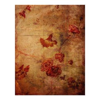 Grunge Red Carnation Wallpaper Pattern Scrapbook P Letterhead Design