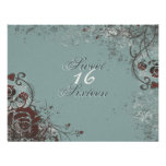 Grunge Red Rose Sweet 16 Birthday Party Invitation