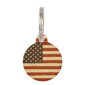 Grunge Retro American Flag Pet Name Tag