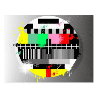 Grunge retro television test screen postcard