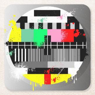 Grunge retro television test screen square paper coaster