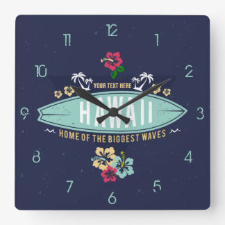 Grunge Retro Vintage Aloha Hawaii Surfer Square Wall Clock