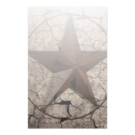 Grunge rustic Texas star western country art Personalized Stationery