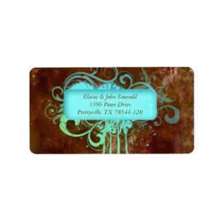 Grunge Rustic Vintage Wedding Address Label