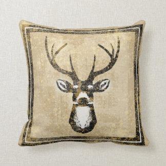 Grunge Sand Camo Buck Deer Pillow