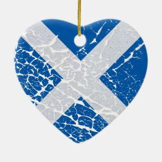 Grunge Scottish Flag Ceramic Heart Ornament