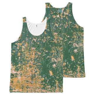 grunge scratched paint green old wall All-Over-Print tank top