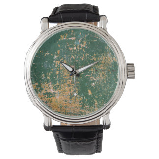 grunge scratched paint green old wall watch