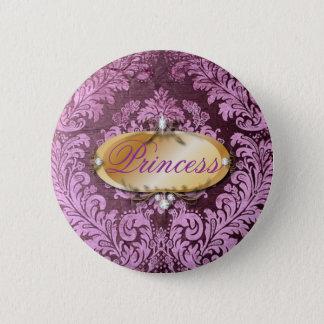 grunge shabby chic floral Victorian purple damask 2 Inch Round Button