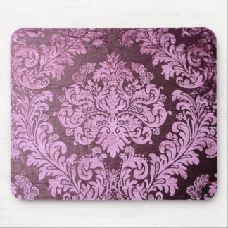 grunge shabby chic floral Victorian purple damask Mouse Pad