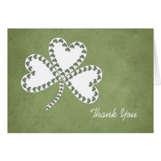 Grunge Shamrocks Thank You Card