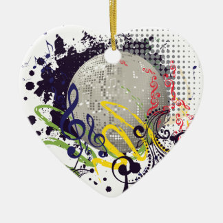 Grunge Silver Disco Ball 2 Ceramic Ornament