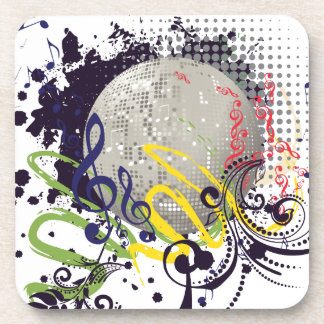 Grunge Silver Disco Ball 2 Coaster