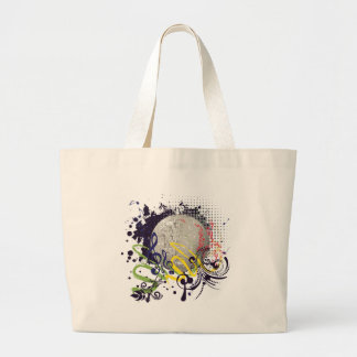 Grunge Silver Disco Ball 2 Large Tote Bag