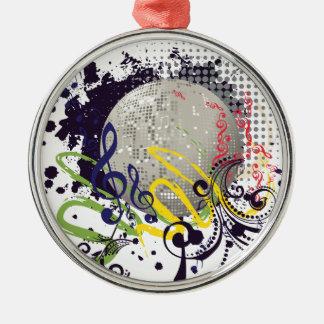 Grunge Silver Disco Ball 2 Metal Ornament