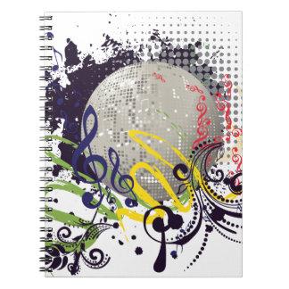 Grunge Silver Disco Ball 2 Notebook