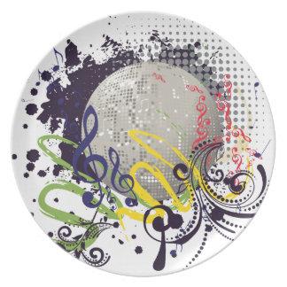 Grunge Silver Disco Ball 2 Plate