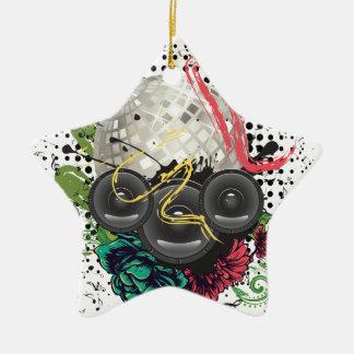 Grunge Silver Disco Ball Ceramic Ornament