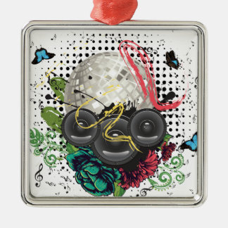Grunge Silver Disco Ball Metal Ornament