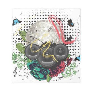 Grunge Silver Disco Ball Notepad