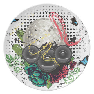 Grunge Silver Disco Ball Plate