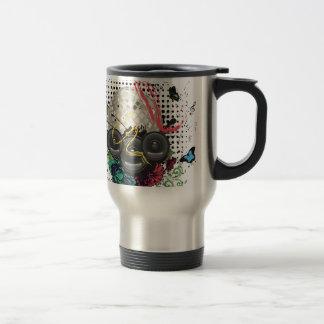 Grunge Silver Disco Ball Travel Mug