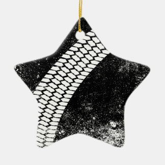 Grunge Skid Mark Ceramic Star Ornament