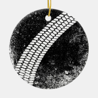 Grunge Skid Mark Round Ceramic Ornament