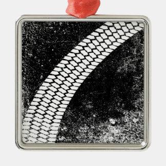 Grunge Skid Mark Silver-Colored Square Ornament