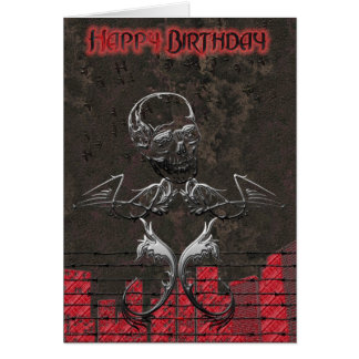 Grunge Skull Birthday Card