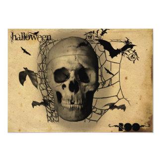 Grunge Skull Halloween Party Card