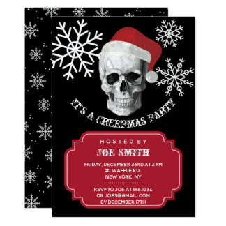 Grunge Skull Santa Christmas Party Invitation
