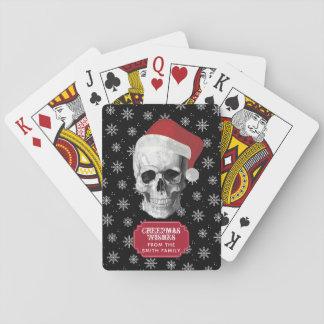 Grunge Skull Santa Playing Cards