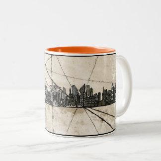 Grunge Skyline Two-Tone Coffee Mug