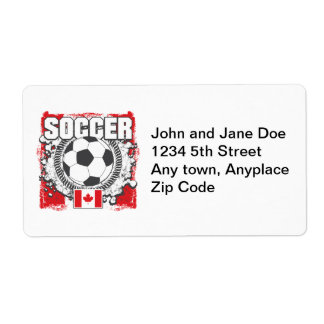Grunge Soccer Canada Shipping Label