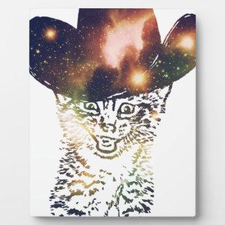 Grunge Space cat 3 Plaque