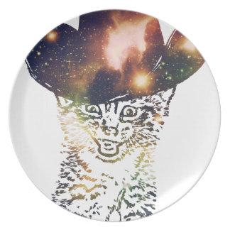 Grunge Space cat 3 Plate