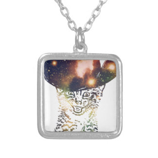 Grunge Space cat 3 Silver Plated Necklace