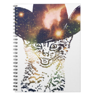 Grunge Space cat 3 Spiral Notebook