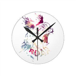 Grunge Space cat Round Clock