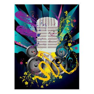 Grunge Speaker and Microphone3 Postcard