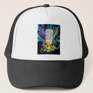 Grunge Speaker and Microphone3 Trucker Hat