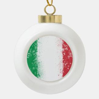 Grunge Splatter Painted Flag of Italy Ceramic Ball Christmas Ornament