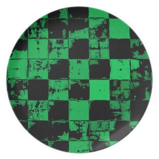 Grunge squares, black and green bricks pattern plate